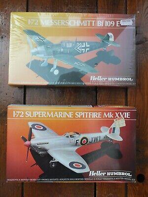 2 Heller Humbro Model Kits 1/72 Scale Spitfire MK XVIE Messerschmitt BF109E