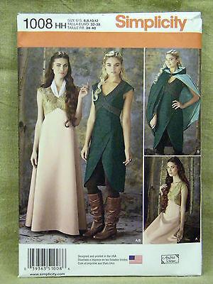 SIMPLICITY PATTERN 1008 COSTUME DRESS CAPE  MISSES SIZES  6 8 10 12 UN-CUT