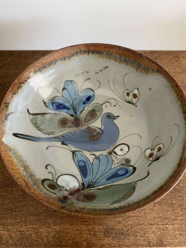 Vintage Mexican Folk Art Tonala Pottery Bowl isgned Ken Edwards