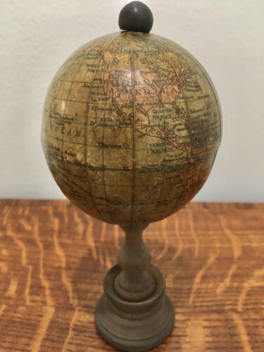 "Rare Antique Pocket Miniature 2 7/8"" Terrestrial Globe (Hawaii still Owyhee)"