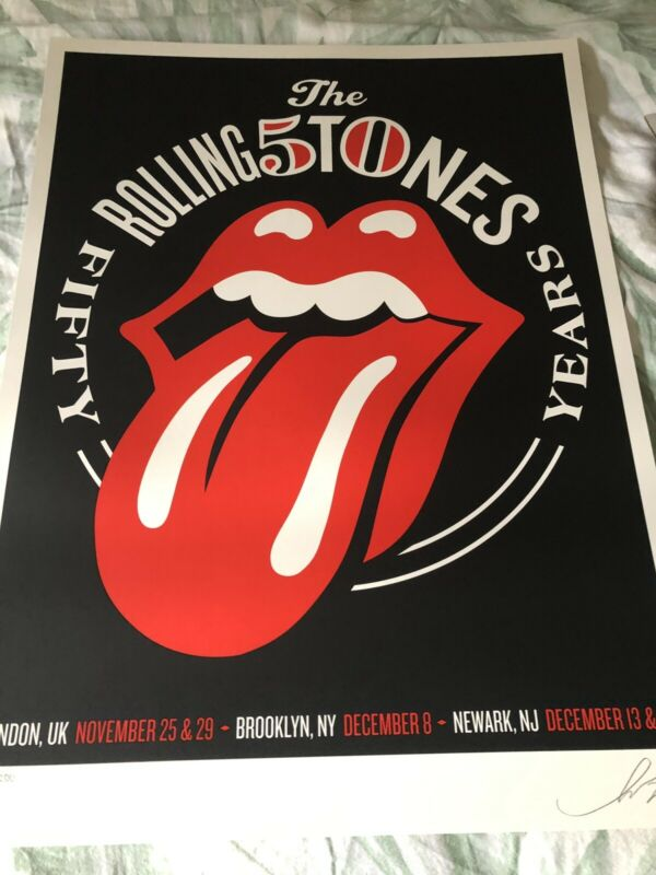 Rolling Stones 50th Anniversary Poster Shepard Fairey LE 638 Original NY UK Hope