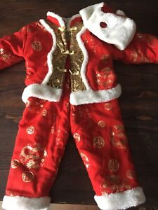 12 month Red Dragon Asian Pant top Hat Fur Child Baby Chinese
