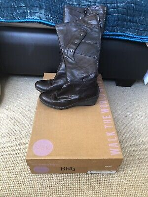 KHRIO Boxed Worn Once Brown Boots. 5 / 38 RRP £139. Wedge heel