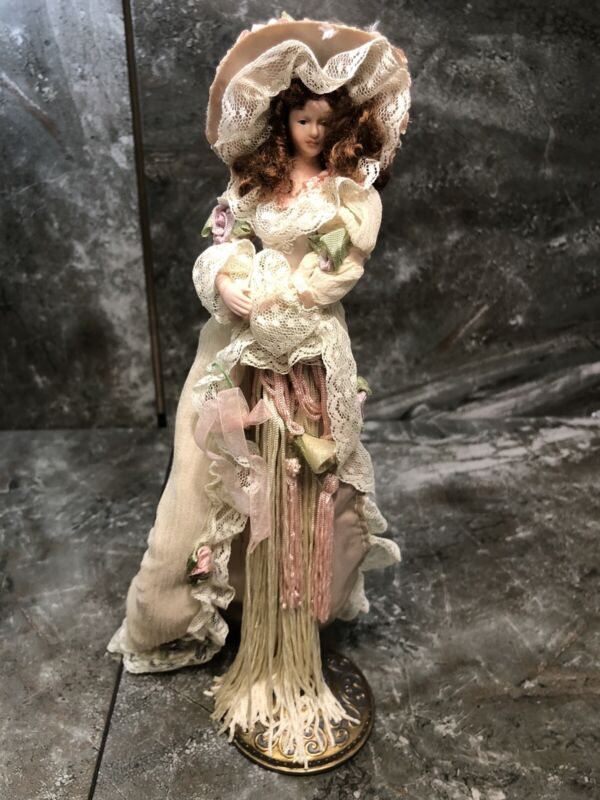 Popular Creations Victorian Tassel Doll Ornament with stand 2004 Ivory