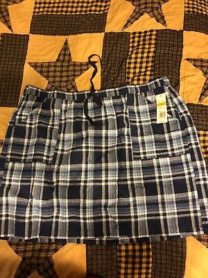 Twill-skort (Kim Rogers Women's Blue Plaid Cotton Twill Skort Pockets Elastic Waistband New)