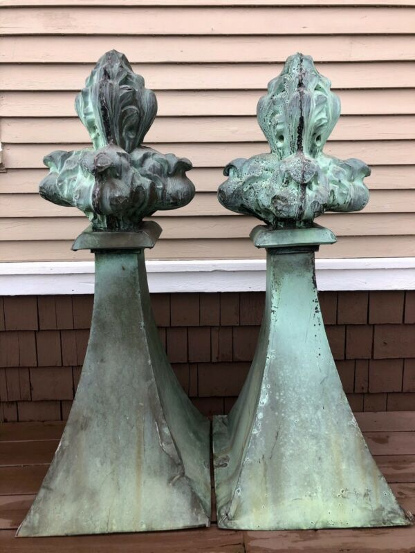 """Antique French Copper Flame Roof Finials, 54"""" Tall, Huge Pair"""