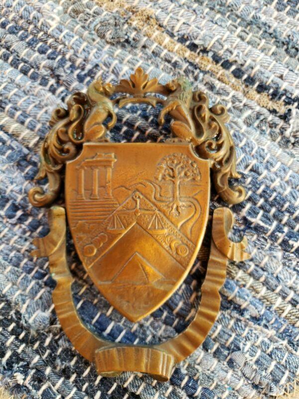 Vintage Door Knocker Solid Brass/Bronze Shield Mid Century