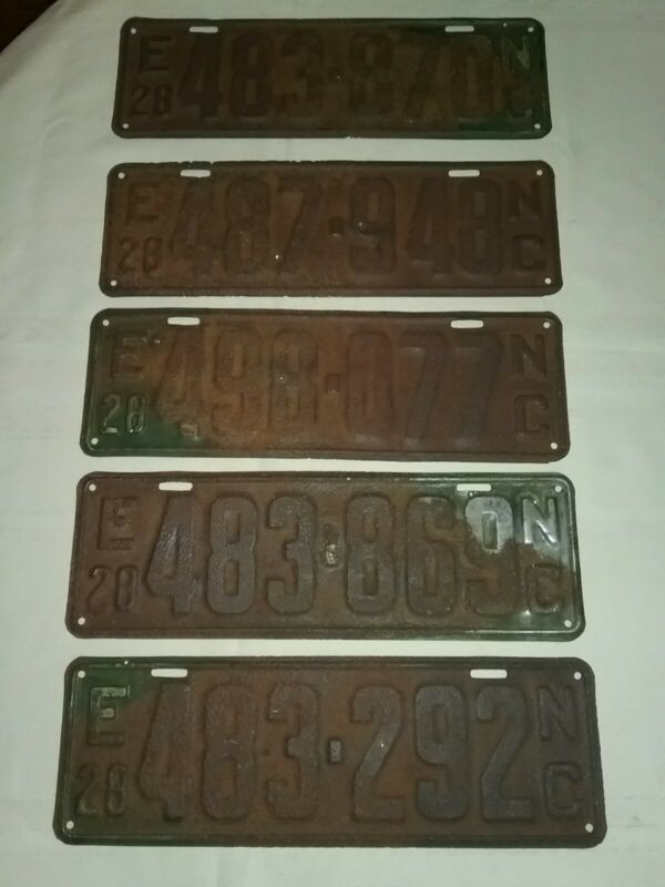 Vintage 1928 North Carolina License Plate Lot (5). Great For Stock.