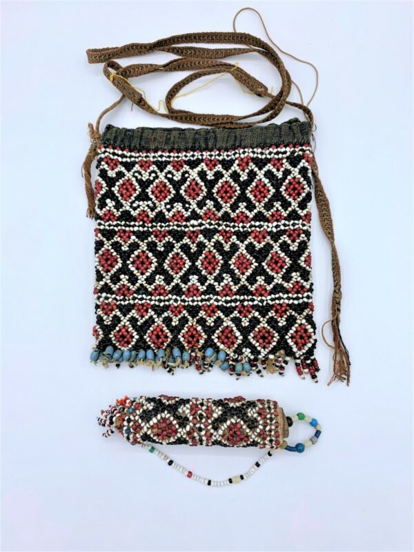 Antique Betel Nut Beaded Bag and Lime Container, West Timor, Indonesia (2 pcs.)