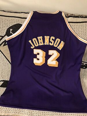 Magic Johnson Los Angeles Lakers Authentic Mitchell   Ness Throwback Jersey  Sz60 dbb1d9afe