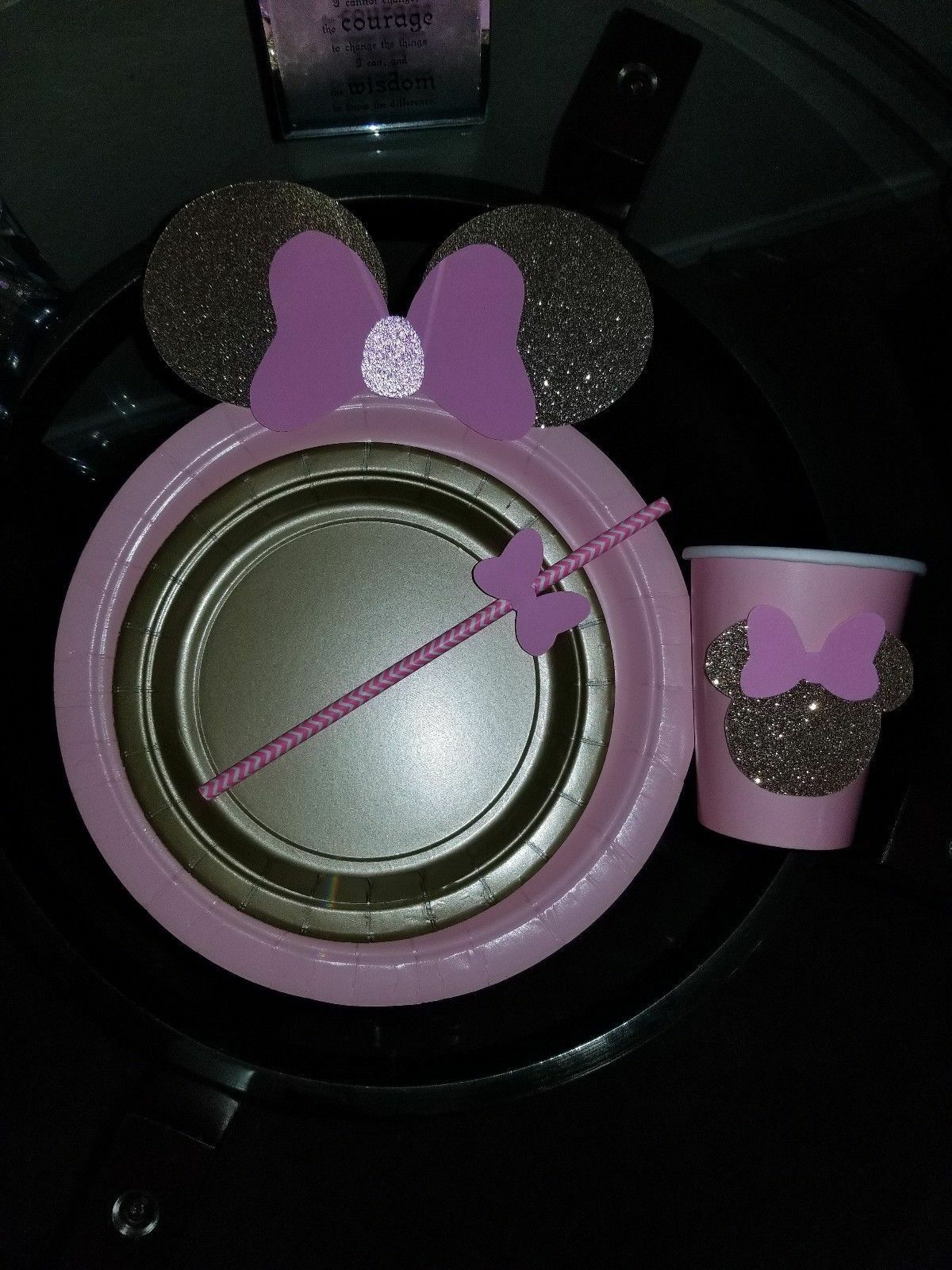 MINNIE MOUSE PLATES CUPS HAND MADE PINK PARTY DECORATIONS PL