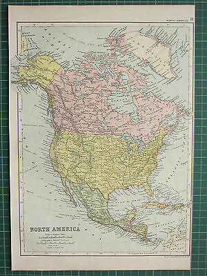 1900 LARGE VICTORIAN MAP ~ NORTH AMERICA MEXICO CUBA JAMICA UNITED STATES CANADA