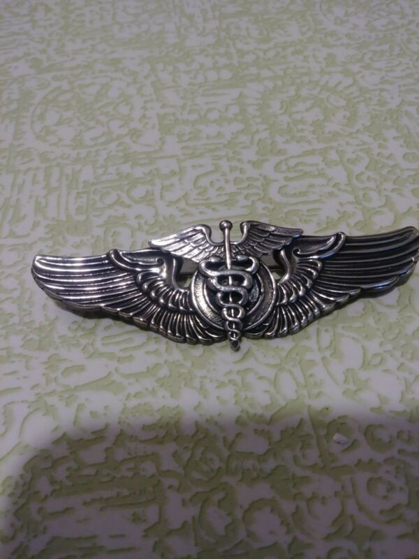 "ORIGINAL WWII USAAF 3"" SILVER FLIGHT SURGEON WINGS - STERLING -"