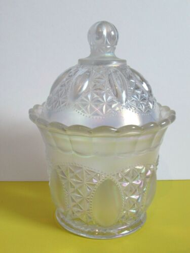 """Vtg. Carnival Glass White Opal Iridescent """"Beaded Jewel"""" Candy Dish"""