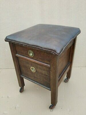Vintage wooden stool with drawers