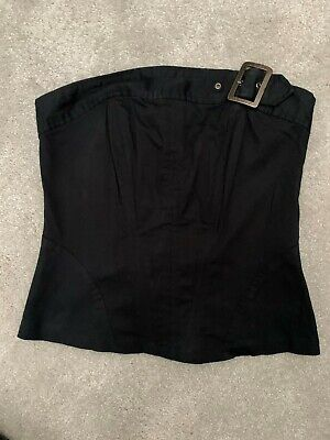 JOHN RICHMOND BLACK FITTED CORSET STYLE BANDEAU STRAPLESS TOP SIZE 10