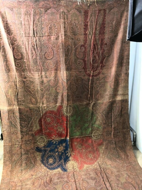 Antique Scottish wool jacquard paisley shawl 4 color center 62 x 120""