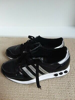 Adidas Women's L.A.Trainers  Black Patent Size 4.5 Used