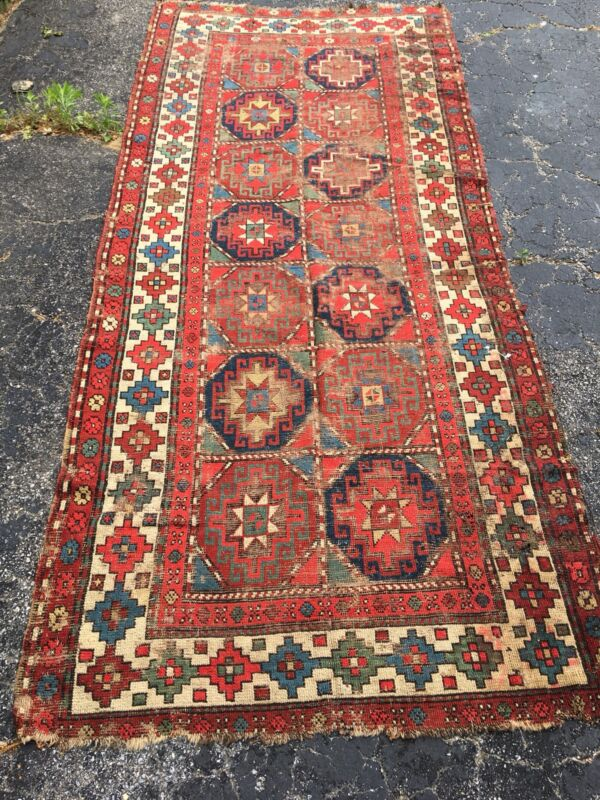 Antique Oriental Rug - Hand Knotted - Red 4x9