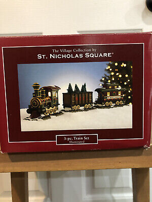 NEW St Nicholas Square ILLUMINATED 3 PIECE TRAIN SET From The Village Collection