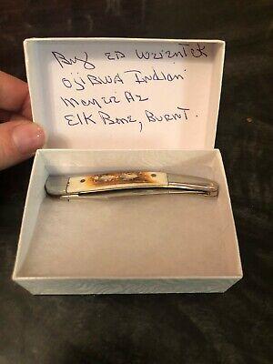 Native American Ojibwe Indian Burnt Elk Bone Folding Pocket Knife by Ed Wzientek