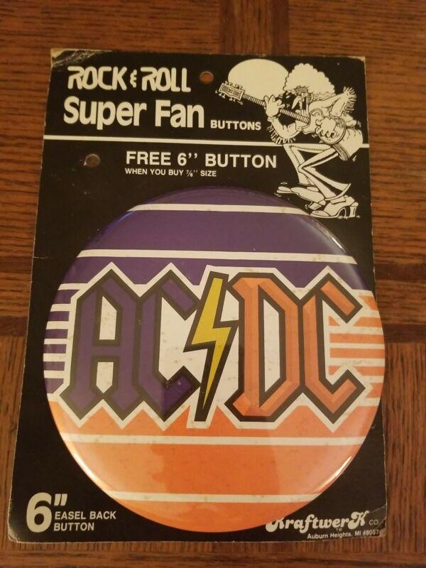 """AC/DC Rock N Roll Super Fan 6"""" Button"""