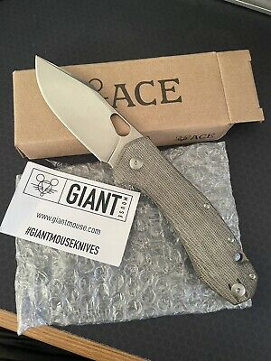 GiantMouse ACE Grand Knife Elmax Blade Green Micarta Scales Original Packaging