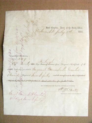 CIVIL WAR QUANTRILL RAID MISSOURI MURDERED UNION OFFICER SIGNATURE 1862