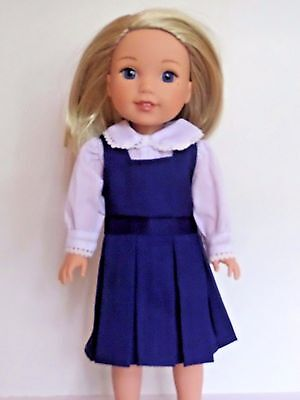 Jumper Outfit (Navy Blue Jumper Outfit Dress Fits Wellie Wishers 14.5