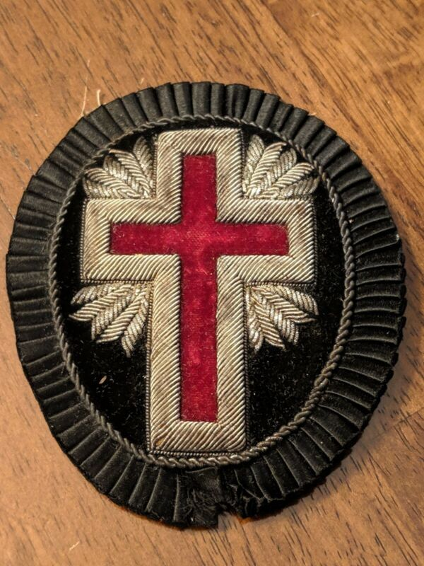 Antique Masonic Knights Of Templer Cross Patch