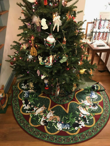 "Corgi Christmas Tree Skirt, 54"" diameter"