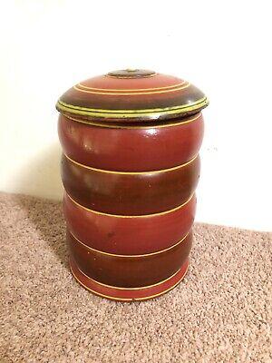 Vintage Turned Wood Lidded Tobacco jar Storage red painted mid century modern