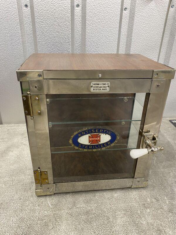 Antique Medical Cabinet Oak Noonan Antiseptic Sterlilizer Barber 1930s?
