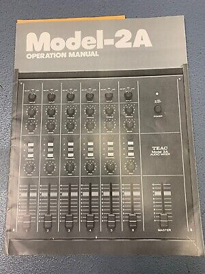 Vintage Teac Model 2A Audio Mixer Owners Manual