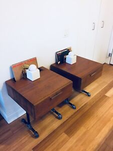 VINTAGE INDUSTRIAL SIDE / NIGHT TABLES MID CENTURY MODERN STYLE