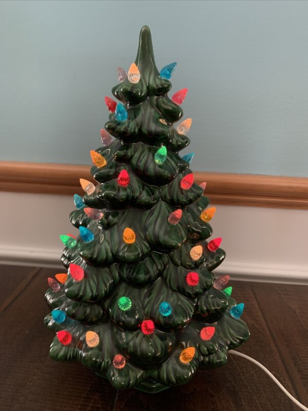 Vintage Lighted Ceramic Christmas Tree with Base 13 inch