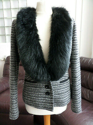 Per Una Black/Silver Faux Fur Collar Sparkle Wool Mix Jacket/Cardigan UK 10