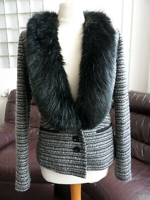 Per Una Black/Silver Faux Fur Collar Sparkle Wool Mix Jacket UK Size UK 10