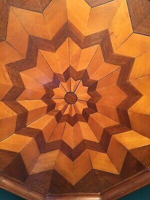 "Old Wood Tray Wall Hanging 15"" Mixed Wood Pinwheel Pieced Handmade Maple Woods"