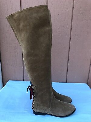 """$1195 NEW Sonia Rykiel Brown Suede 20"""" Over The Knee Fashion Boots A9 RARE"""