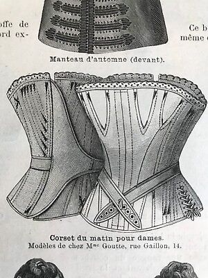 MODE ILLUSTREE SEWING PATTERN Sept 11,1887 - CORSETS, WOOL DRESSES