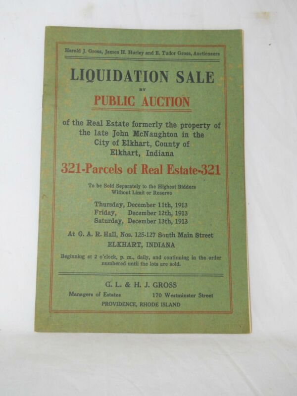1913 AUCTION CATALOG 321 PARCELS OF ELKHART INDIANA REAL ESTATE FREE SHIPPING