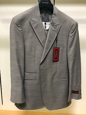 NWT Steve HARVEY 40R Gray Silver Fashion Solid Exotic Adams Suit 2PC Sharkskin for sale  Seaford