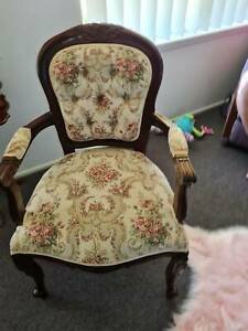 antique club chair with quality brocade fabric