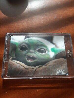Star Wars, Mandalorian, Baby Yoda The Child, Grogu PSC ACEO SKETCH CARD LOOK 1/1