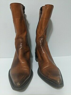 ROCCO P. Barneys New York Leather Ankle Boots Brown/Tan Size 39 Made in Italy