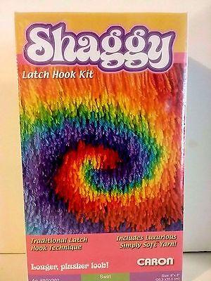 "Shaggy Swirl Latchhook Kit.  8"" x 8"".  Wonder Art Caron NEW / SEALED"
