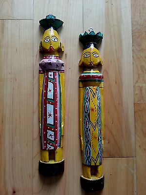 Vintage Hand Carved & Painted Wood Indian Folk Carving Couple Figure Wallhanging