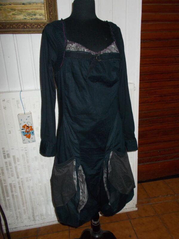 Robe longue noire déstructurée en coton uni manches longues 40 42 44