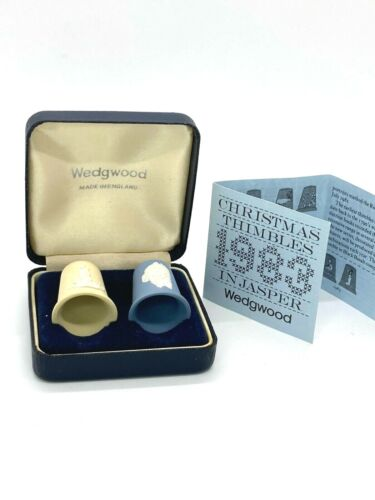 Wedgewood Jasper ware Blue Santa Claus And Yellow Candle Thimbles 1983 boxed set